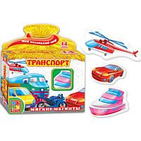 Развивающая игра, набор тематических магнитов Мой маленький мир Транспорт Vladi Toys VT 3101-06 (укр)
