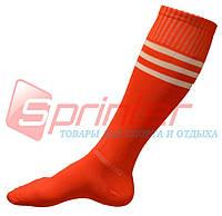 Гетры футбольные детские с полосками красные. К-58