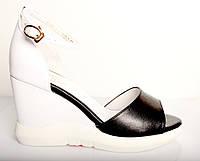 Босоножки женские Hermes черно - белые из натуральной кожи на платформе, женские босоножки