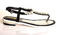 Босоножки женские Chanel из натуральной кожи без каблука,брендовые босоножки