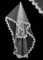 Свадебная кружевная фата (9) удлиненная (кремовая)
