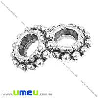 Бусина-разделитель мет., 8х3 мм, Античное серебро, 1 шт (BUS-004738)