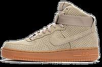 Женские кроссовки Nike Air Force (найк аир форс высокие) бежевые
