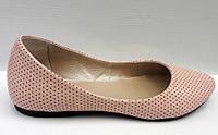 Балетки женские/подростковые кожаные розовые, белые Uk0296