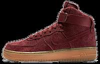 Мужские кроссовки Nike Air Force 1 High (найк аир форс высокие) бордовые