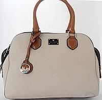 Превосходная вместительная сумка светло-бежевая на три отдела от Velina Fabbiano