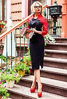 Офисное платье облегающего силуэта Фике красное 42-48 размеры Jadone