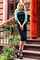 Элегантное офисное платье Фике бирюзовое 42-48 размеры Jadone