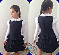 Модный школьный сарафан для девочки рр 116-140   цвет серый