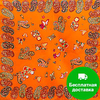 Лучший корпоративный подарок к праздникам шелковый платок шейный женский CODELLO (КОДЕЛЛО) C270097-orange