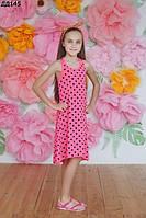 Детское летнее платье в горошек 116-140