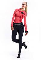 Брюки-леггинсы женские черного цвета со складками на карманах. Модель Kiomi Zaps, Польша
