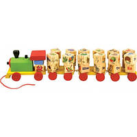 """Звуковой паровозик-пирамидка Алфавит с кубиками, деревянная игрушка 4 в 1 ТМ """"Руди"""" Д222у"""