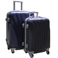 Пластиковый удобный чемодан на колёсиках двойка ручная кладь.