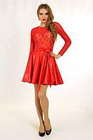Платье с кожаной юбкой, р. 34, 36, 38, 2 цвета
