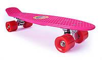 Пенни Борд «Розовый» 22″ Красные Колеса / пенниборд скейт (penny board), скейтборд