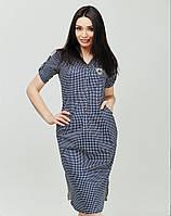 Платье с отложным воротничком и V-образным вырезом горловины