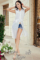 Блузка белая летняя на пояске, под шорты.