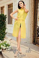 Жёлтая блузка летняя стильная на пояске, под шорты.