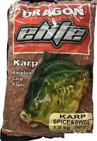 Прикормка ELITE Карп остро-сладкий 1кг Dragon