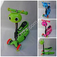 Детский музыкальный самокат Scooter Беговел Кузнечик (от 2 лет, руль 45-70 см, цветные колеса, до 30 кг)