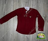 Модная рубашка бренда ARMANI для мальчика бардовая