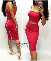 Платье модное облегающее миди с воротником-ошейником и вырезом на талии разные цвета SMp462