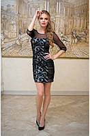 Платье коктейльное с драпировкой, р. 34, 36, 38, чёрное