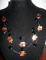 Винтажное ожерелье с коричневыми камнями