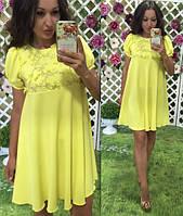 Нежное легкое желтое платье лиф вышивка на сетке цветы низ креп размеры S M L