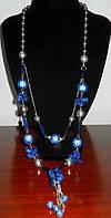 Роскошное ожерелье длинное с синими кристаллами