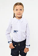 Красивая нарядная школьная белая блуза с оригинальными бантиками  для девочки в школу