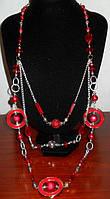 Стильное ожерелье длинное с красными кристаллами