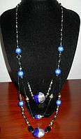 Ожерелье длинное с голубыми кристаллами