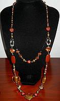 Ожерелье длинное с янтарными кристаллами