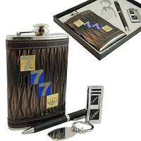 """9oz Подарочный набор """"777"""". Фляга, кремниевая зажигалка, ручка и брелок."""