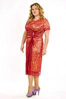 Коктейльное платье с разрезом из гипюра, р. 46, 48, 50, 52, 10 цветов
