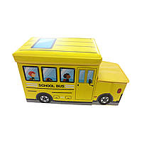 """Детский пуф (корзина для игрушек) """"Автобус желтый"""""""