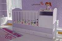 """Детская кровать-трансформер """"Sweet"""", Lanami (от 0 до 12 лет), цвет лиловый"""