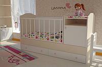 """Детская кровать-трансформер """"Sweet"""", Lanami (от 0 до 12 лет), цвет ваниль"""