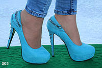 Туфли голубые 35,39,40рр