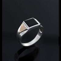 Серебряный мужской перстень с золотом 34943