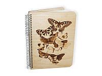 Деревянный блокнот для декорирования от Hand-Wood - Бабочки, формат A5, 55 листов