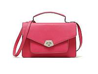 Яркая стильная женская вместительная сумка на плечо розового цвета