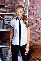 Блуза  Короткий Рукав Двойной Отложной Воротник Белая с Синим S-XXL
