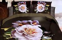 5D Постельное белье Евро размер East Comfort - на темном букет цветов