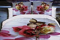 5D Постельное белье Евро размер East Comfort - красивые большие розы