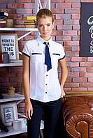Элегантная Блуза Короткий Рукав с Галстуком Белая Синяя S-XXL