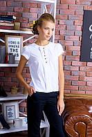 Красивая Белая Блуза для Школы и Офиса Короткий Рукав S-XL