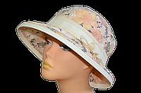 Женская шляпка с полями  Любава желтая  размытые цветы